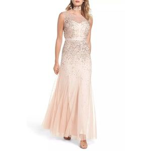 Adrianna Papell Dresses - New Adrianna Papell beaded illusion gown blush 14P